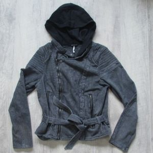 Free People Black & Gray Belted Jacket Sz Medium